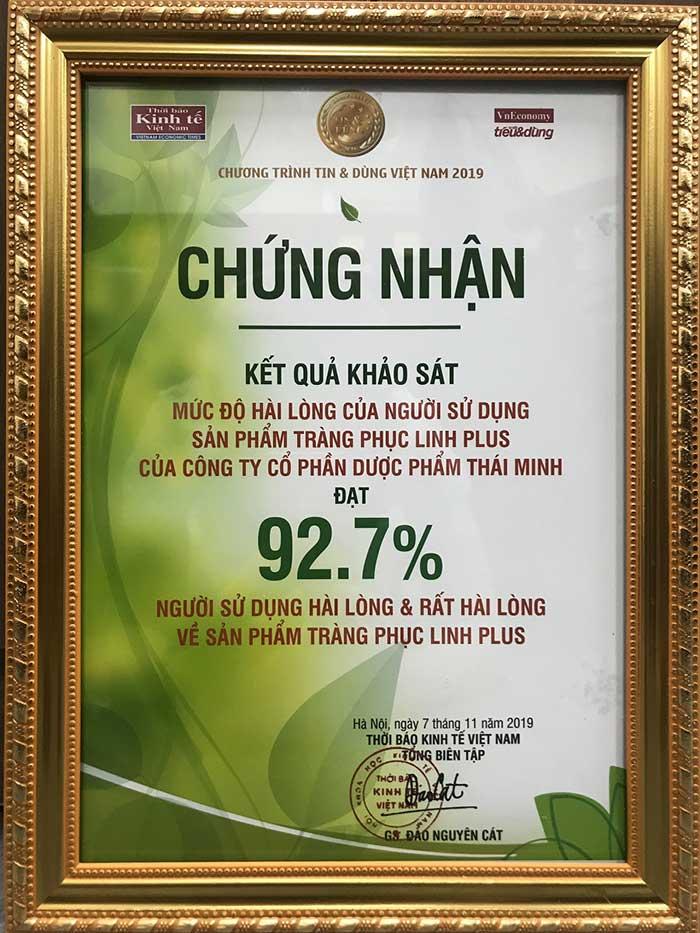 92.7% khách hàng hài lòng về hiệu quả của Tràng Phục Linh Plus 1